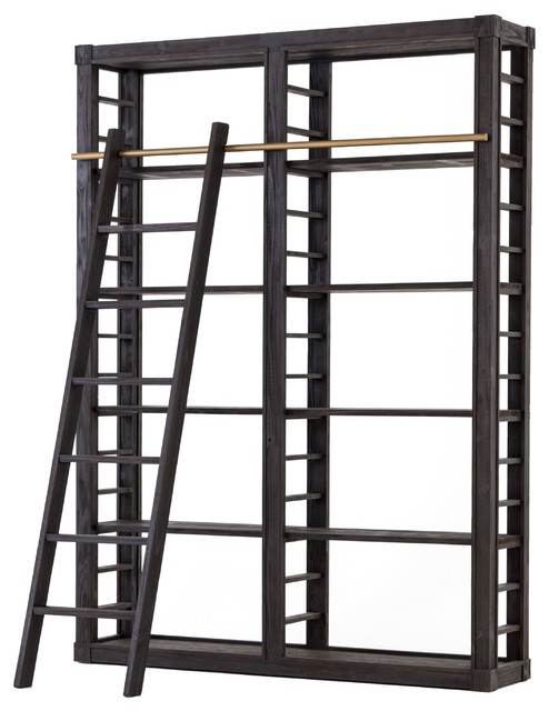 on sale ed038 7474f French Modern Reclaimed Wood Library Bookshelf With Ladder