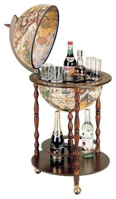 Vanesio Classic Floor Globe Bar On Three Casters by Zoffoli