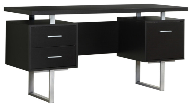 Modern 60 Quot Desk With Floating Top And File Drawer