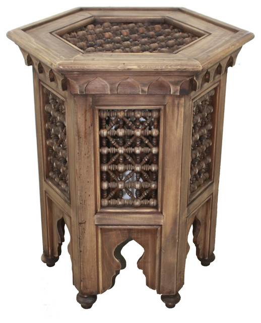 Wooden Moroccan Moucharabieh Side Table Design 1