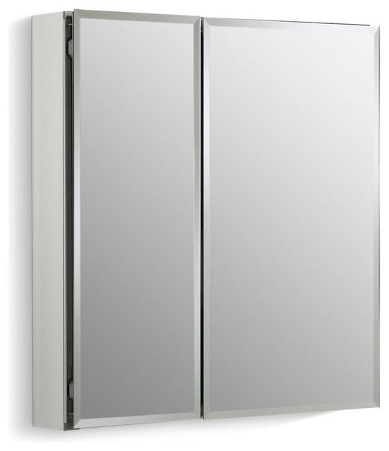 "Kohler Aluminum 2-Door Medicine Cabinet Mirrored Doors, Beveled Edges, 25""x26""."