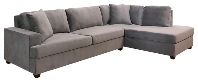 Tory Velvet Fabric Sectional, Gray