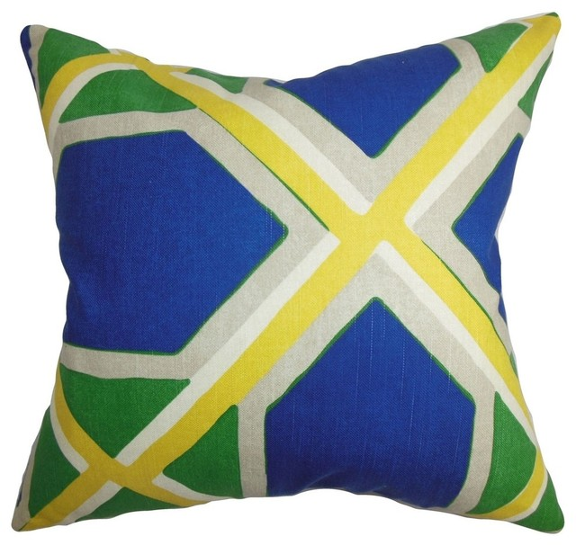 Quigley Geometric Pillow Blue Green - Contemporary - Decorative Pillows - by The Pillow ...