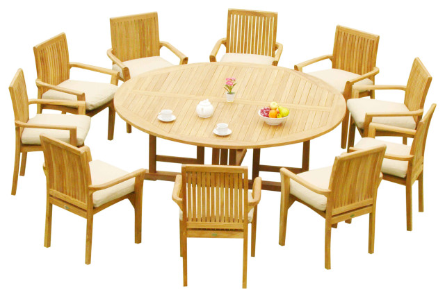 11 Piece Outdoor Teak Dining Set 72, Round 10 Seat Dining Table