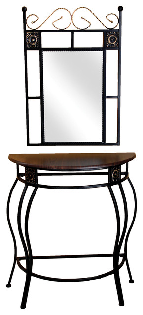Sigurd Black Metal Mirror And Console Table With Mahogany Table Top.