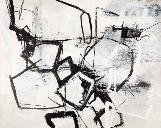 "Large Contemporary Original Art, ""black Noir""."