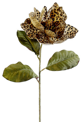 Silk Plants Direct Glitter Leopard Print Magnolia Pack Of