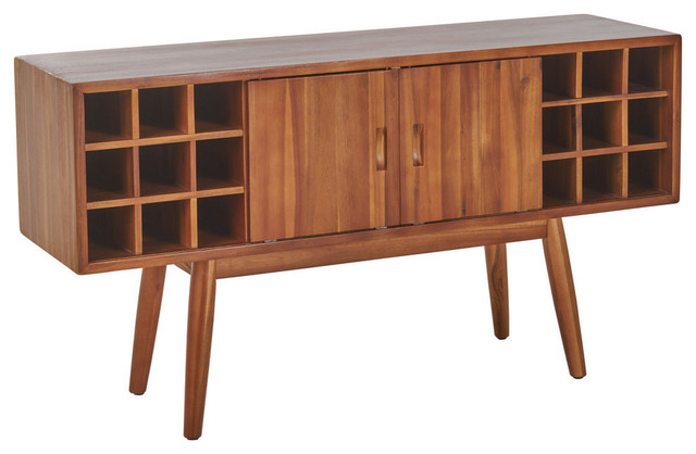 Gdf Studio Edye Mid Century Light Oak Finished Wood Wine Bar Cabinet Midcentury And Cabinets By Gdfstudio