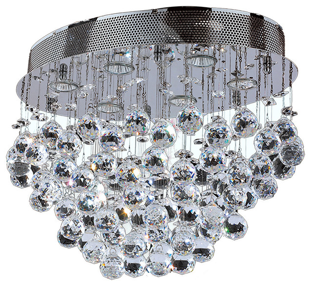 """Modern 6 Light Chrome Finish With Faceted Crystal Ball Prism Flush Mount 20""""."""