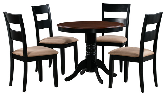 Brookline 5-Piece Small Kitchen Table Set, Black/Cherry, Microfiber  Upholstered