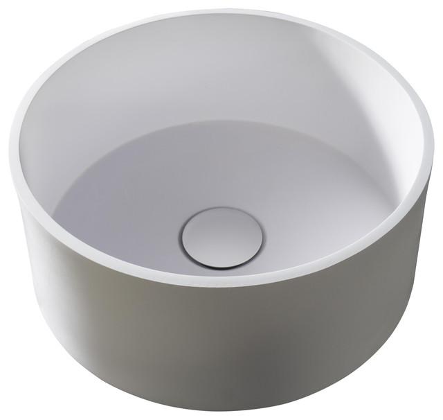 Sottile Bathroom Vessel Sink, Round, 37 cm