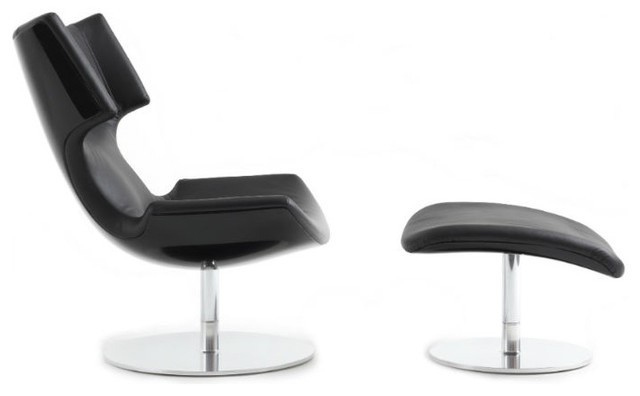 Boson Chair and Ottoman by Artifort, Black Shell, Elmosoft Black Leather by Artifort
