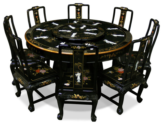 60 black lacquer dining table with 8 chairs asian dining sets by china furniture and arts. Black Bedroom Furniture Sets. Home Design Ideas