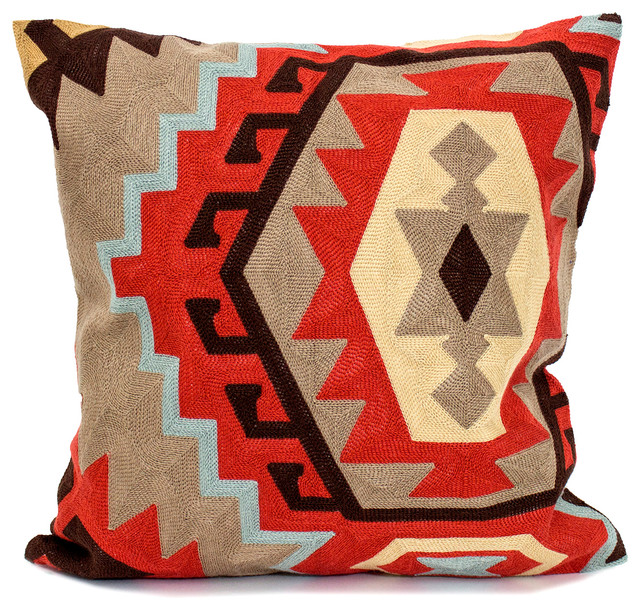 Embroidered Tribal Kilim Canvas Cotton Throw Pillow 18 X18 Southwestern Decorative Pillows By Styles I Love Inc