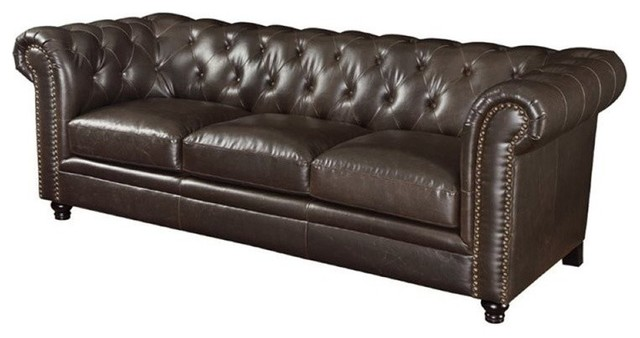 Bowery Hill Leather Button Tufted Sofa in Dark Brown