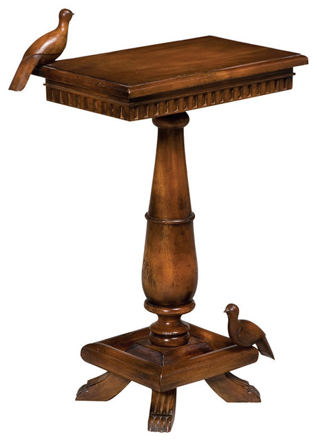 Socle Table With Birds, Wood.