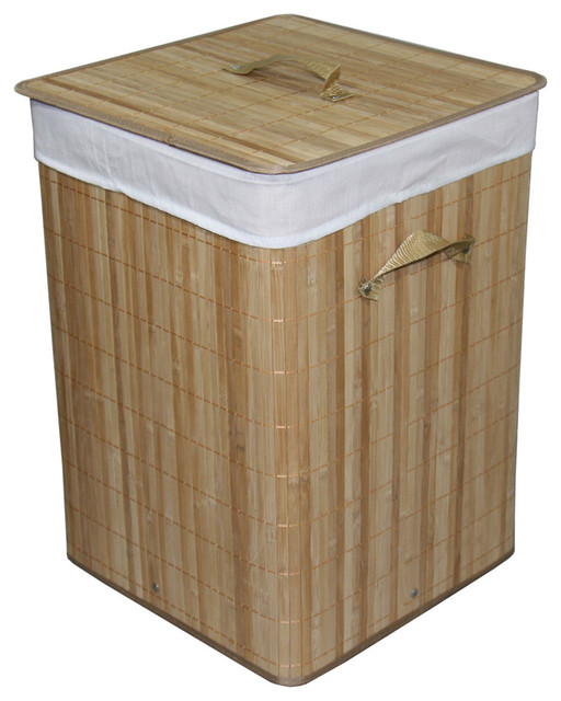 """19.75"""" Tall Bamboo Laundry Basket With Handle."""