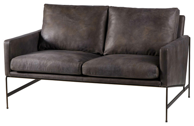 vallery industrial distressed black leather loveseat - Black Leather Loveseat