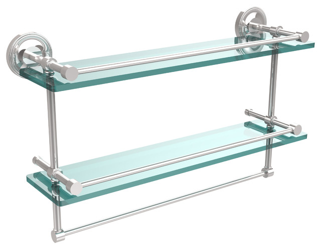 """22"""" Gallery Double Glass Shelf With Towel Bar, Antique Brass - Transitional - Bathroom Cabinets ..."""