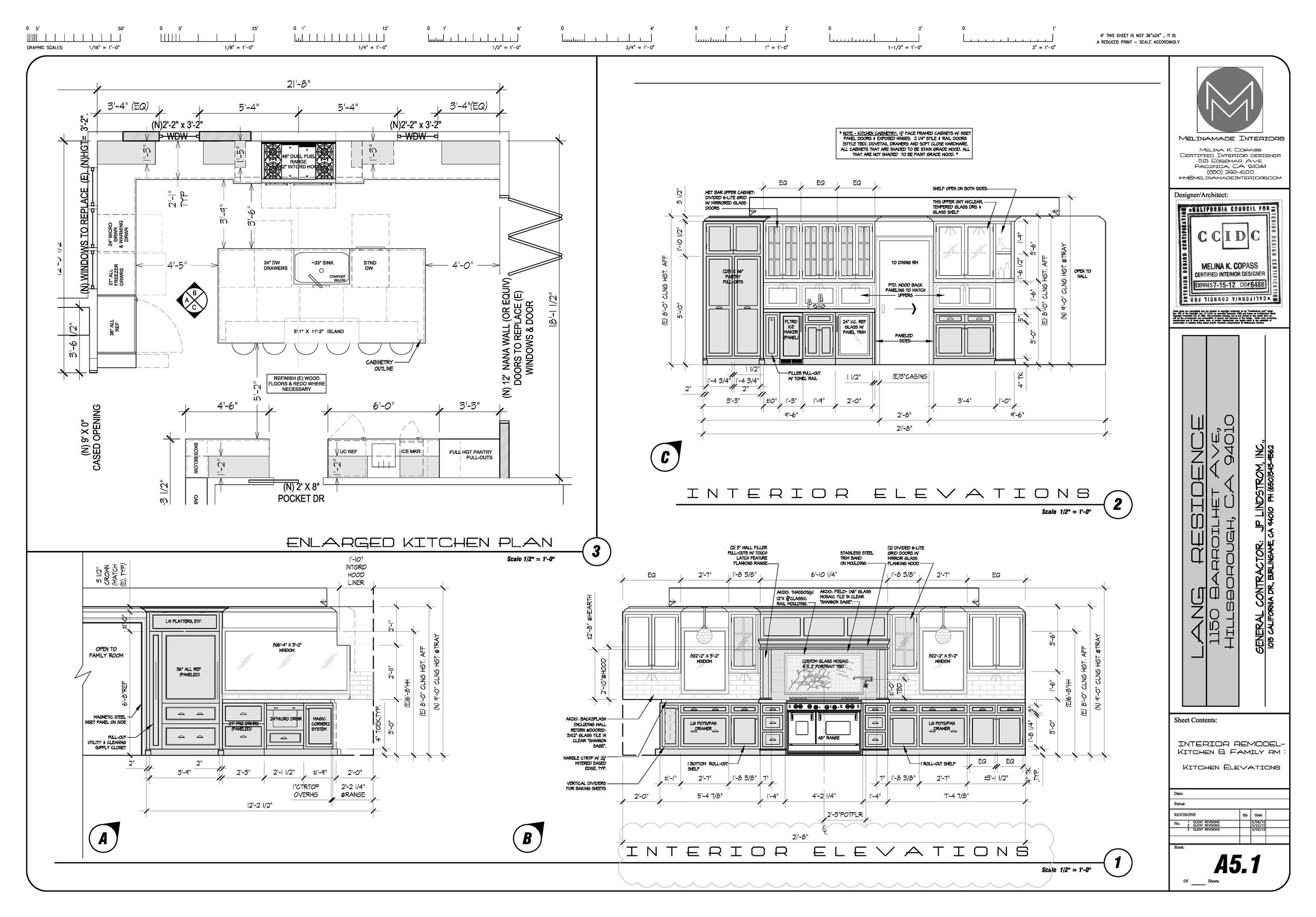 Traditional kitchen & family - floorplan & elevation drawings