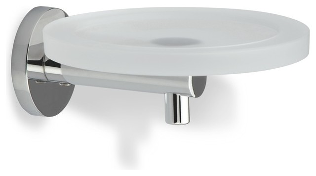 WALL MOUNT BATHROOM CHROME SOAP DISH HOLDER FROSTED GLASS PLATE