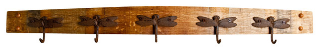 Dragonfly Wine Stave Coat Rack.