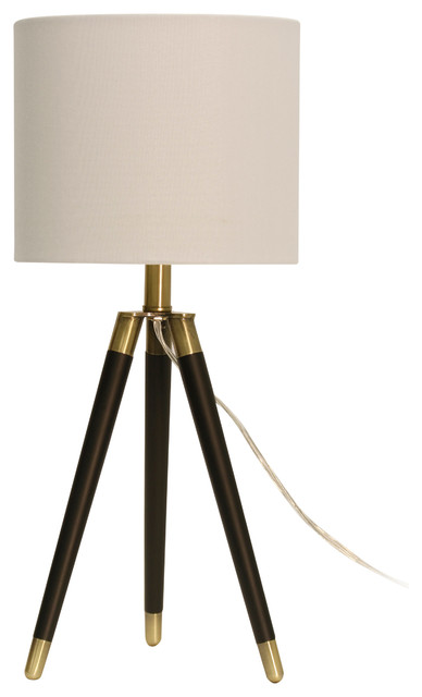 Tripod Table Lamp, Brown Finish, White Hardback Fabric Shade.