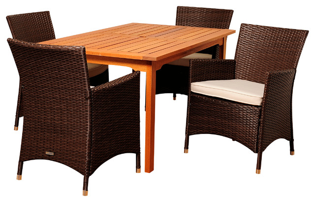 Myron 5-Piece Eucalyptus And Wicker Patio Dining Set With Off-White Cushions.