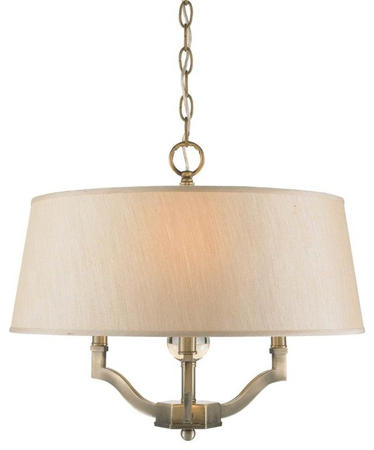 3-Light Semi-Flush With Silken Parchment Shade.