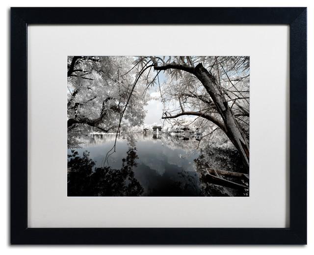 """Philippe Hugonnard &x27;white Foliage&x27; Art, Black Frame, White Matte, 20""""x16""""."""