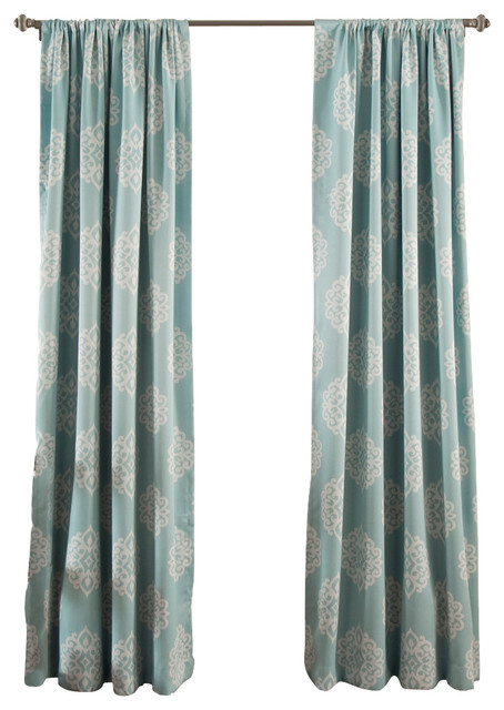 Sophie Blackout Curtains, Set of 2, Blue - Mediterranean ...