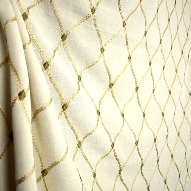 Trellis Fabric engaging ecru cream embroidered trellis fabric - traditional