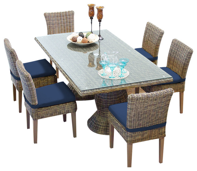 Cape Cod Vintage Stone Rectangular Outdoor Dining Table With 6 Armless Chairs.
