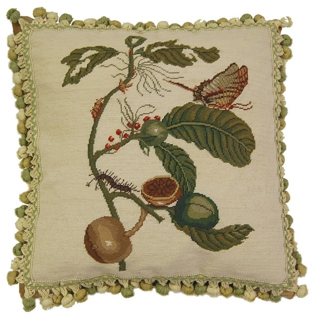 Butterfly And Caterpillar Needlepoint Pillow Traditional