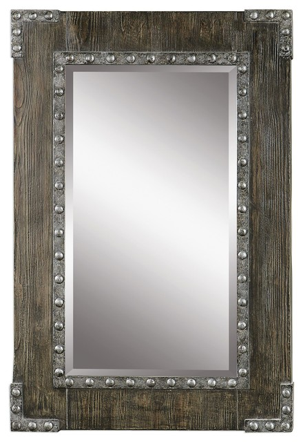 Rustic Wood Metal Riveted Wall Mirror 37 Quot Vanity Vintage