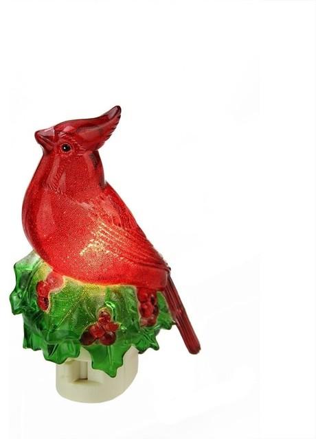 "5.25"" Beaded Red Cardinal On Holly Decorative Christmas Night Light."