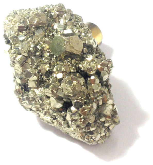 Gold Pyrite Stone Knob, Large - Rustic - Cabinet And Drawer Knobs - by Stephen D. Evans, Inc.