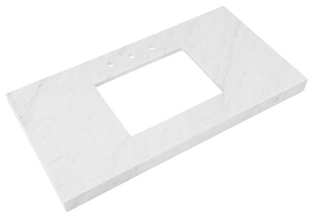 """Ronbow 43""""x22"""" Wide Appeal Marble Vanity Top With 8"""" Spread, Carrara White."""