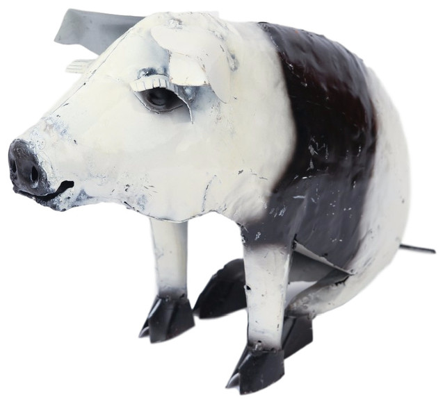 Recycled Metal Sitting Pig, Black And White
