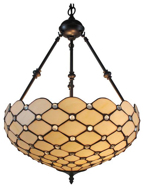 "Amora Lighting Tiffany Style Ceiling Hanging Pendant Lamp 18"" 2 Lights, White."