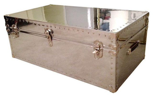 Custom Aviator Mirrored Trunk Coffee Table - Mirrored coffee table with storage