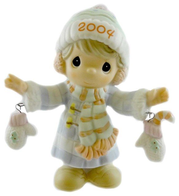 Precious Moments S&x27;mitten With The Christmas Spirt Porcelain Dated 2004 117785.