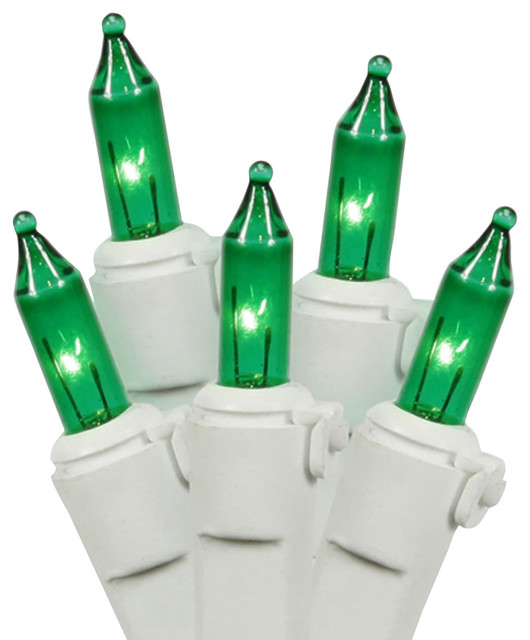 150-Light Heavy-Duty Mini Christmas Lights, White Wire, Green.