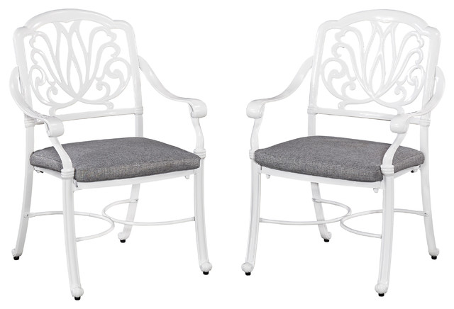 Hinsdale Floral Outdoor Chairs With Cushions, White And Gray, Set Of 2.