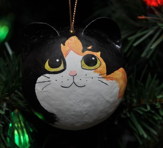 Calico Fur Pattern Cat Christmas Ornament