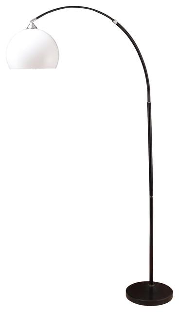 Sharon Modern Adjustable 75u0027u0027 Arc Floor Lamp With Marble Base, Black Floor