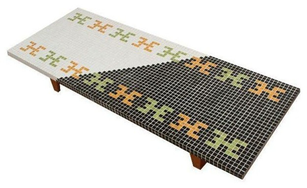 huge mid-century tile mosaic coffee table - contemporary - coffee