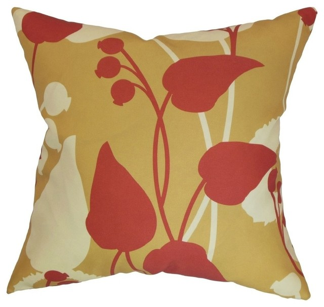 The Pillow Collection Gardenia Floral Pillow Gold Red