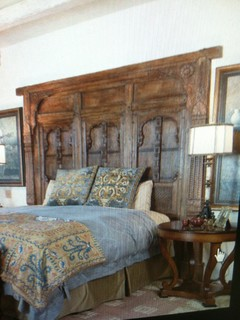 King size headboard made out of old doors