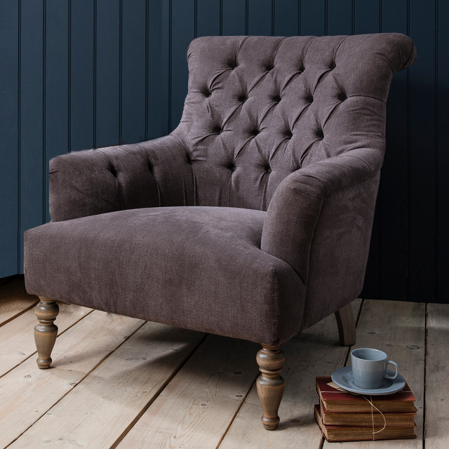 Grand Button Back Armchair - Slate Grey - Traditional ...